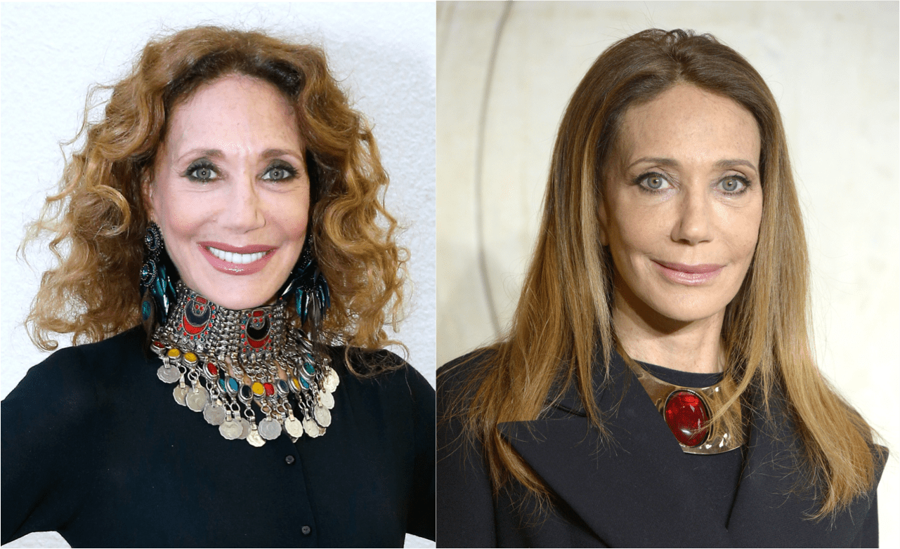 Marisa Berenson with curly hair, left and straight hair, right