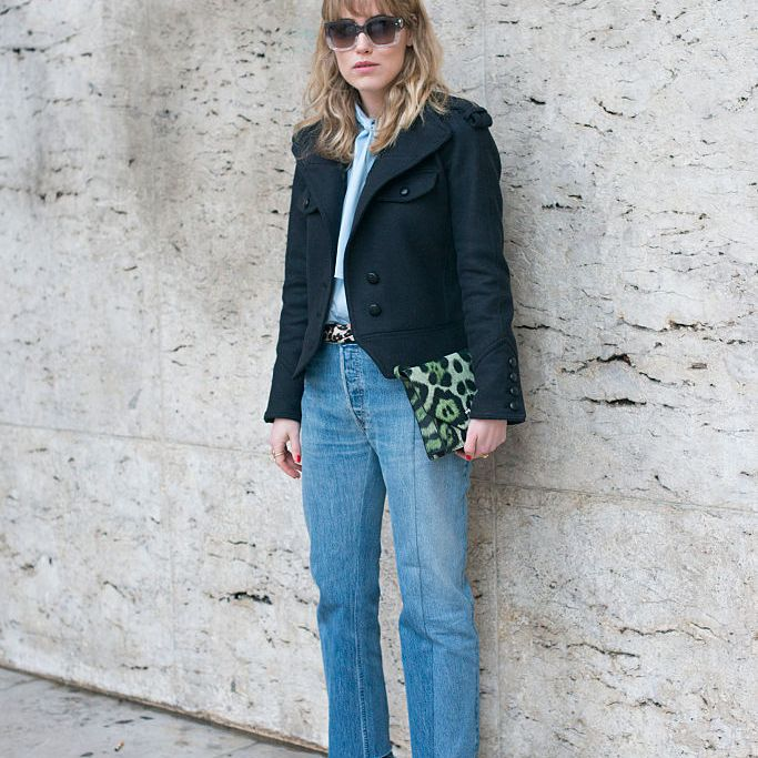 Street style jacket and straight leg jeans