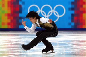 Person ice skating.