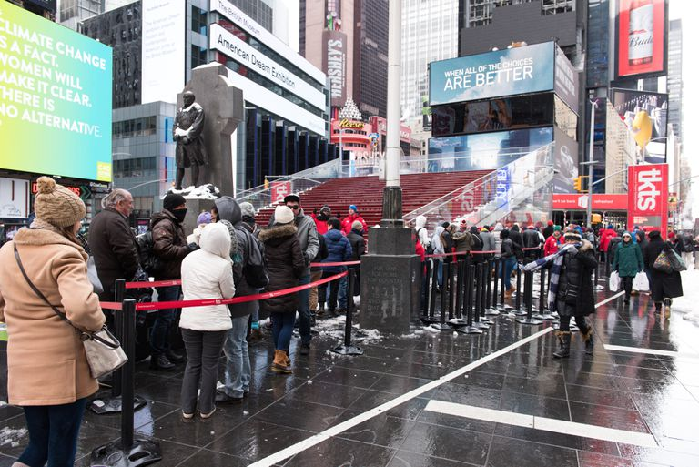 Long line at the discount TKTS booth in Times Square