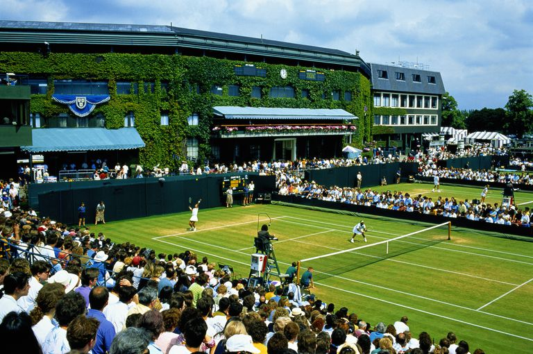 doubles match being played at Wimbledon