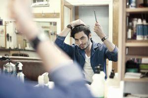 Man combing hair