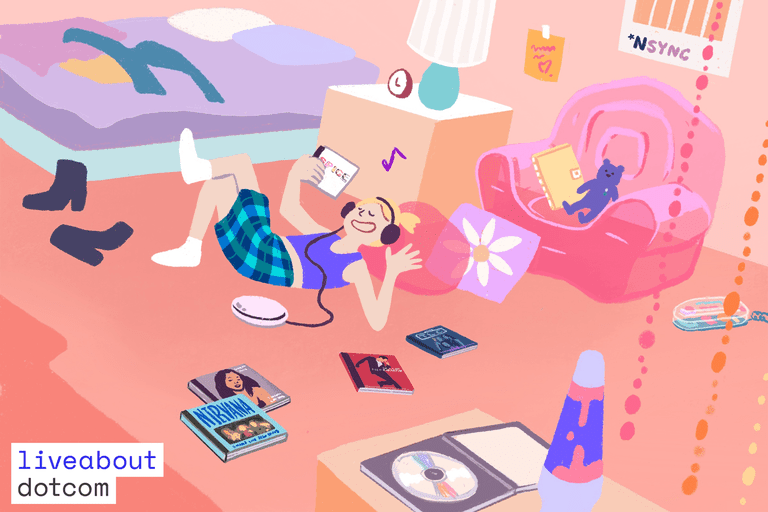 A girl lounging on a beanbag chair listening to music, surrounded by albums from the 1990s