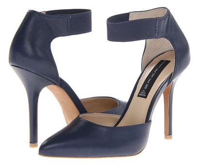 fd240b13dd Navy blue, two-piece pumps with high heels and ankle straps.