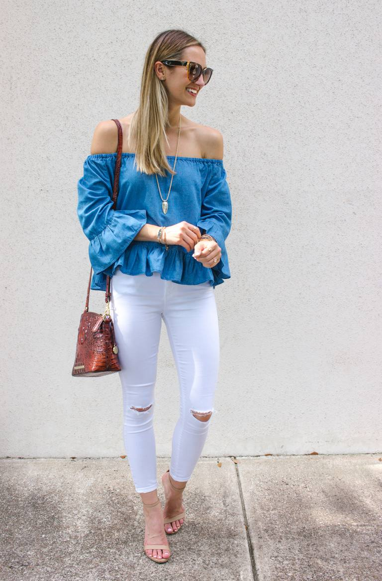 3e7466216c White skinny jeans and off the shoulder top outfit
