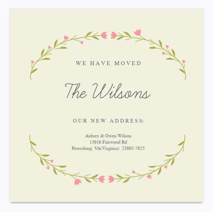 A pink and green floral change of address card