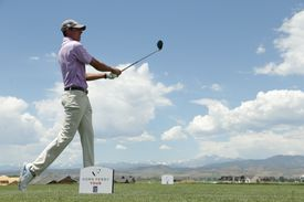 Joseph Winslow watches his tee shot on the fourth hole during the third round of the Korn Ferry Tour TPC Colorado Championship at TPC Colorado on July 13, 2019.