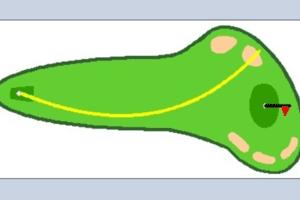 Illustration showing the ball flight of a hook shot