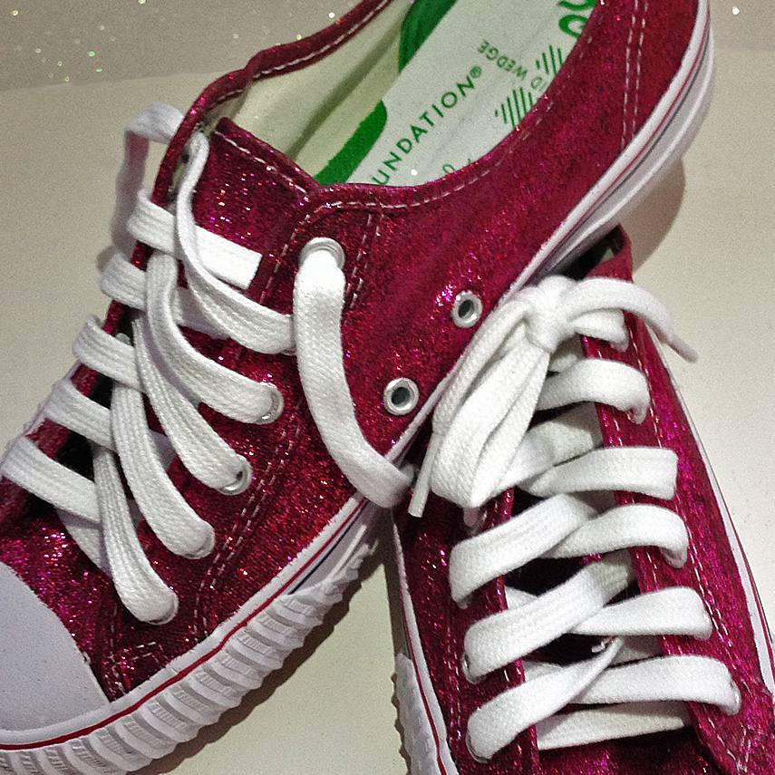 4e8f256bb90a Close-up image of final glittered sneakers. Red with white shoelaces.