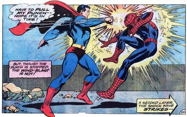 Comic Panel of Superman vs. the Amazing Spider-Man (1976)