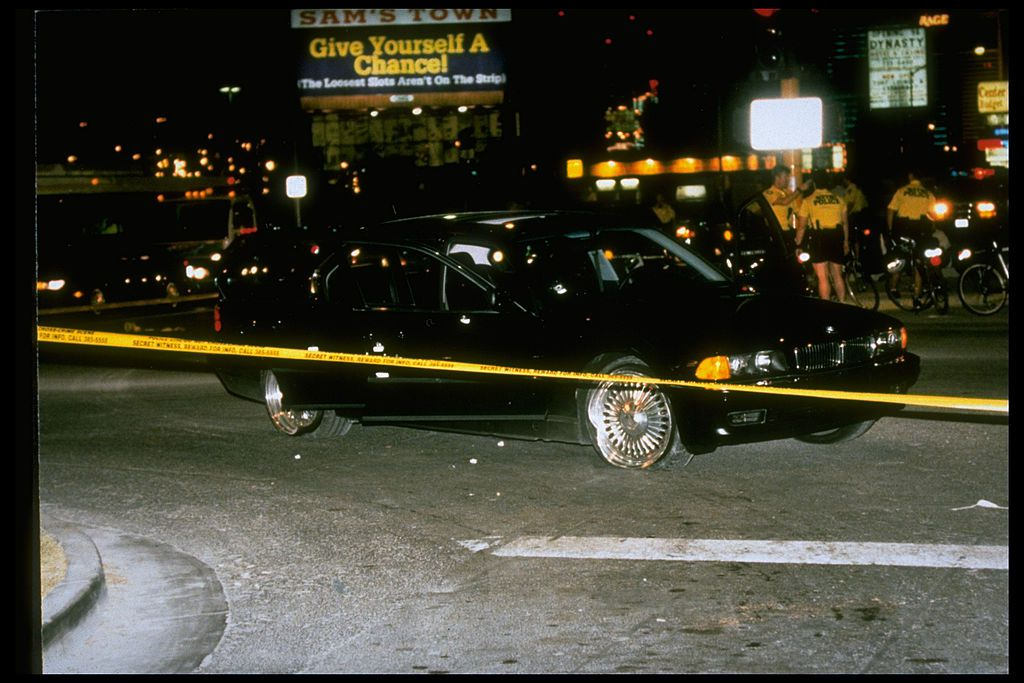 Roped off crime scene of the shooting of Tupac Shakur