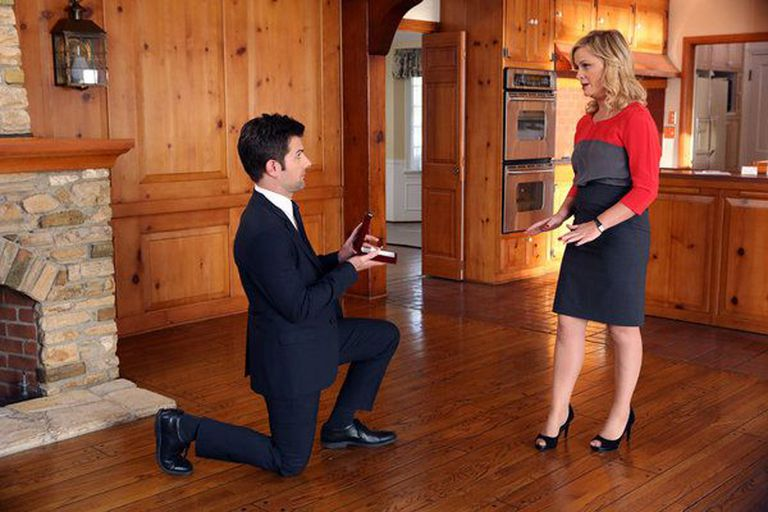 Adam Scott and Amy Poehler in the episode 'Halloween Surprise' from 'Parks and Recreation' Season 5