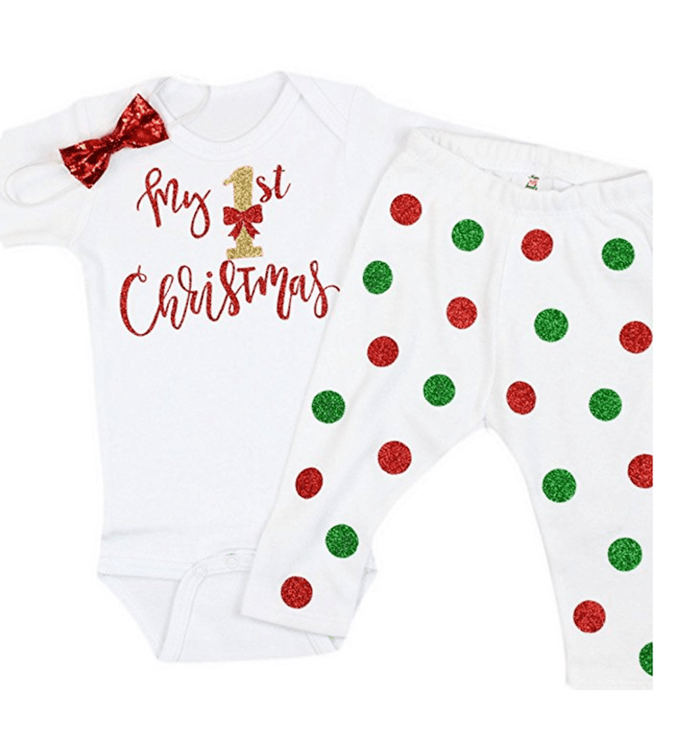 61332b86339 Olive Loves Apple Baby Girl My First Christmas Onesie with Leggings