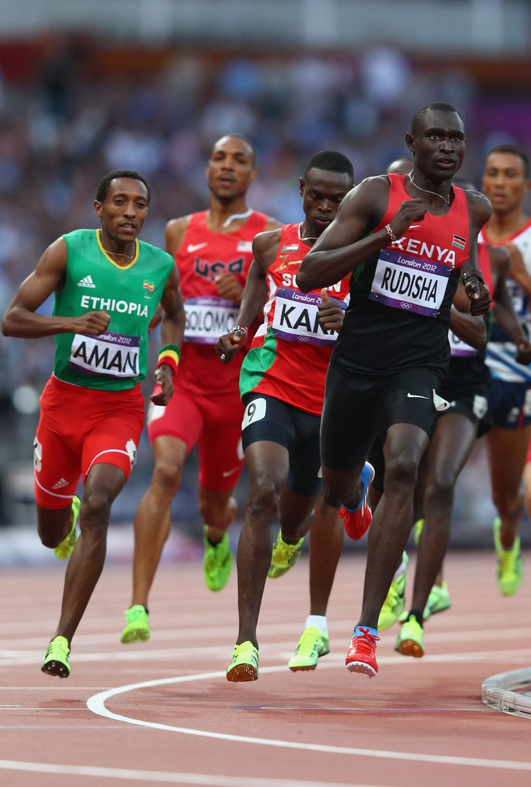David Rudisha led the 2012 Olympic 800-meter final from start to finish and set a world record of 1:40.91.