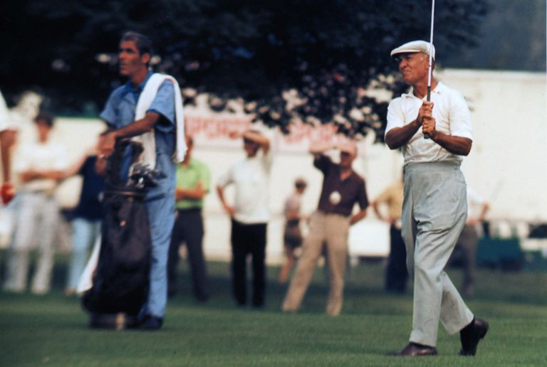 Ben Hogan is on the fairway at the Thunderbird Classic on June 6, 1962 in Clifton, New Jersey