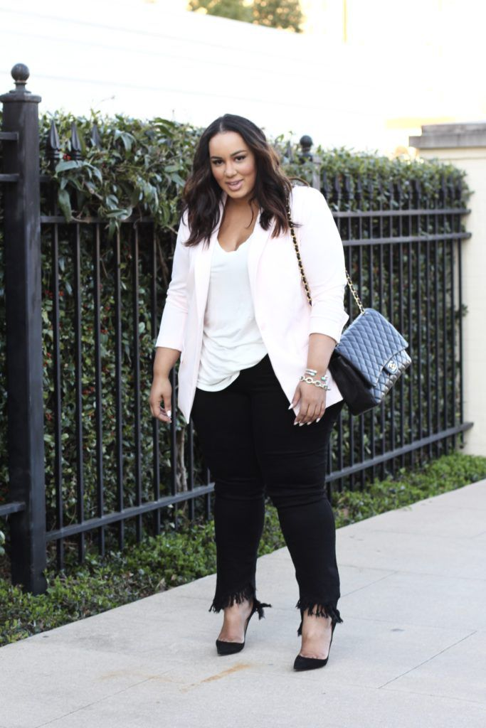 Street Style In Pink Blazer And Black Jeans