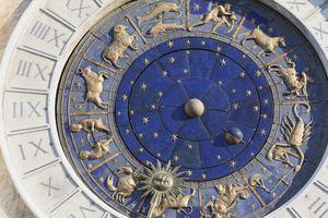Zodiac detail of clock on the Torre dell' Orologio in St. Mark's Square in Venice