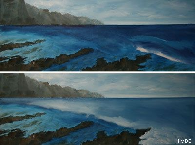 Sea painting step-by-step demonstration