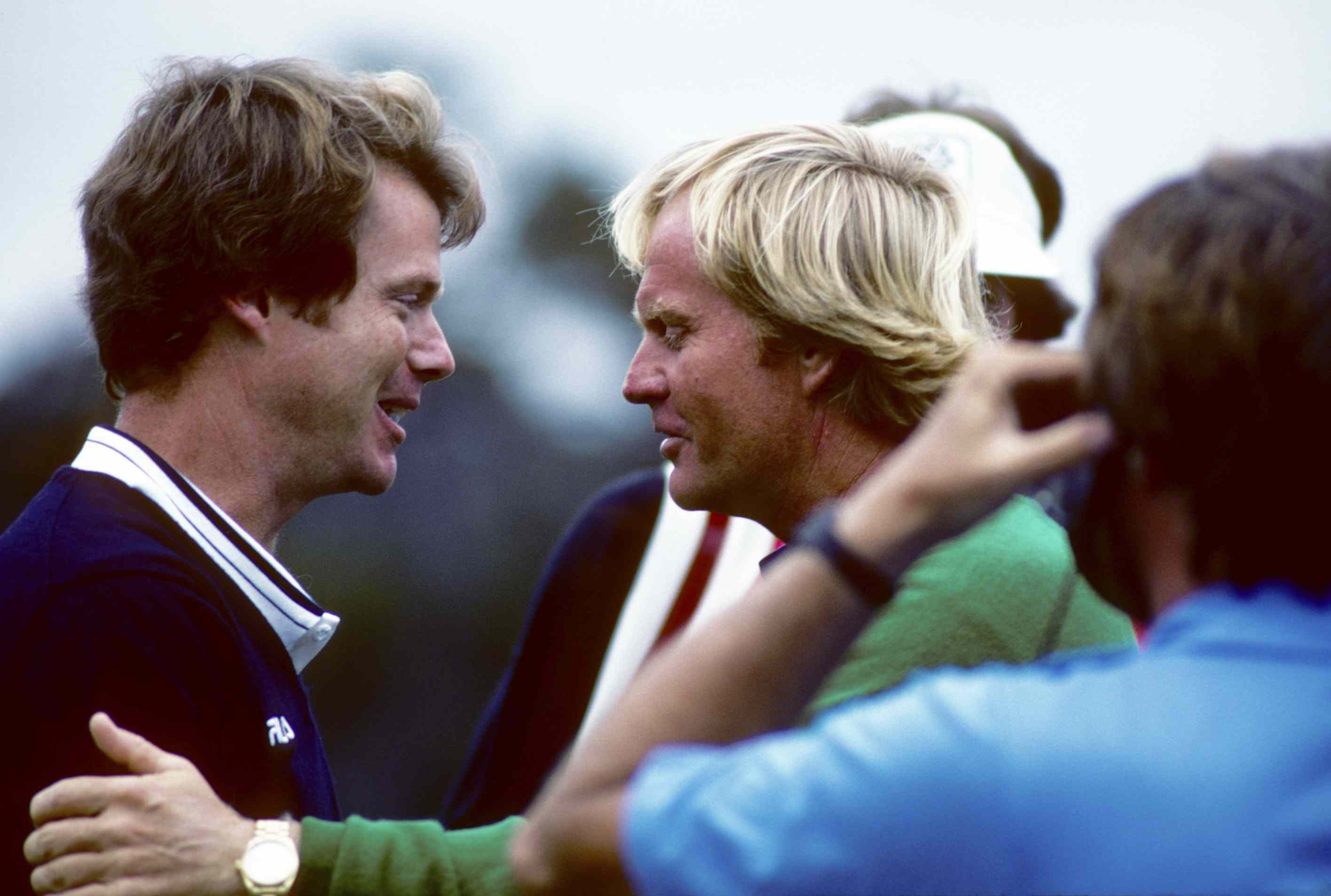 Tom Watson and Jack Nicklaus talk after Watson's win in the 1982 US Open