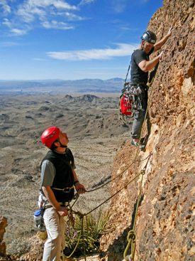 Climbers do the last pitch between ledges of a 5-pitch route in western Arizona.