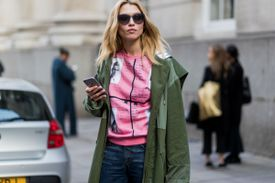 Street style jeans and olive jacket