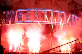 WrestleMania sign against fireworks.