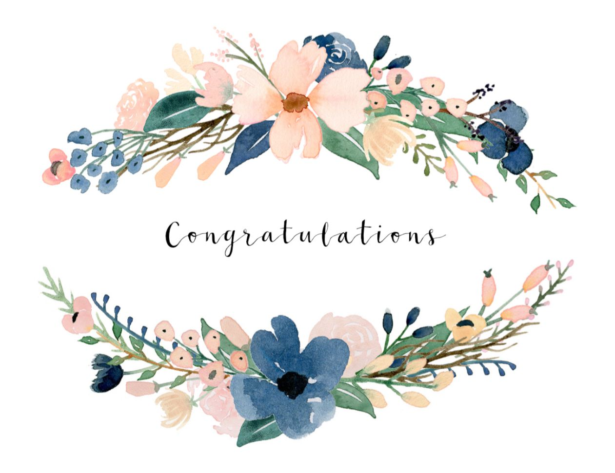 A watercolor flower card that says Congratulations.
