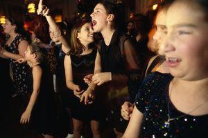 Girls Celebrating at Bat Mitzvah Reception
