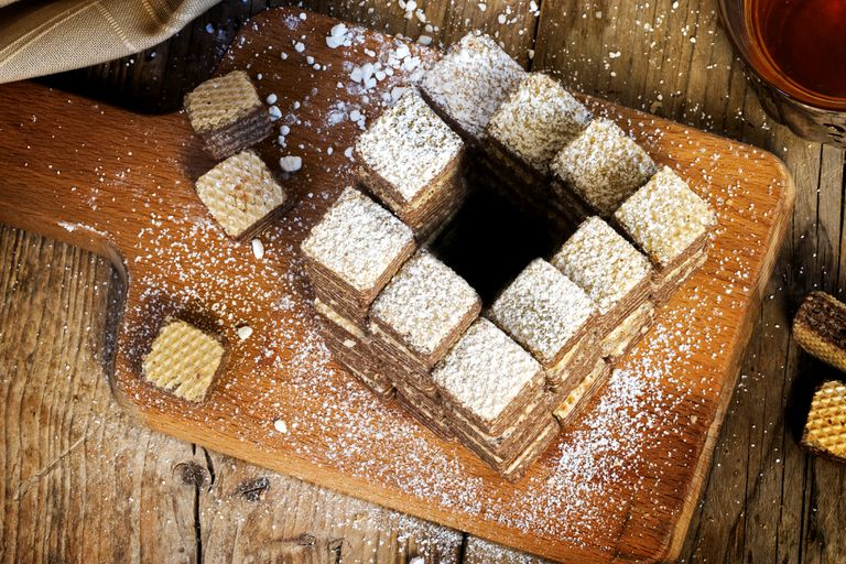 Waffle cookies built to mimic an impossible set of penrose stairs