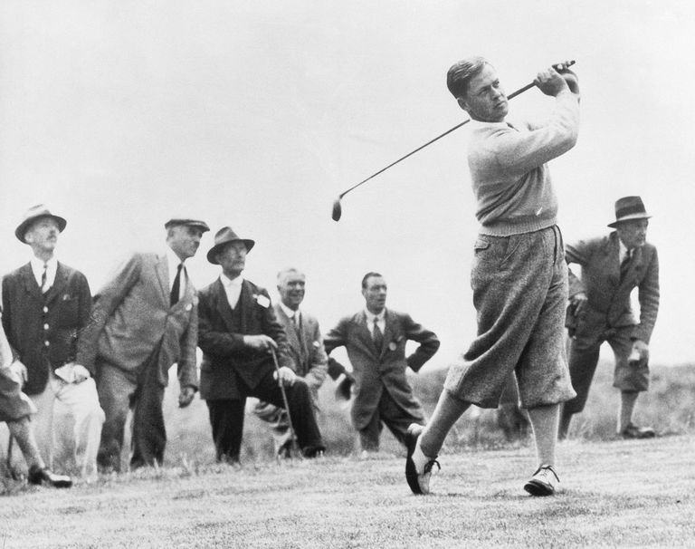 Bobby Jones plays a drive in the 1930 British Open, which he won as an amateur.