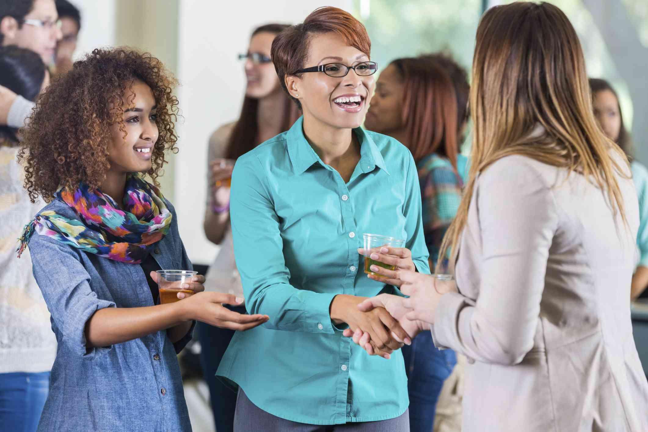 Meet parents at a school event