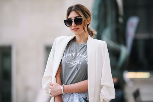 Street style white blazer for women