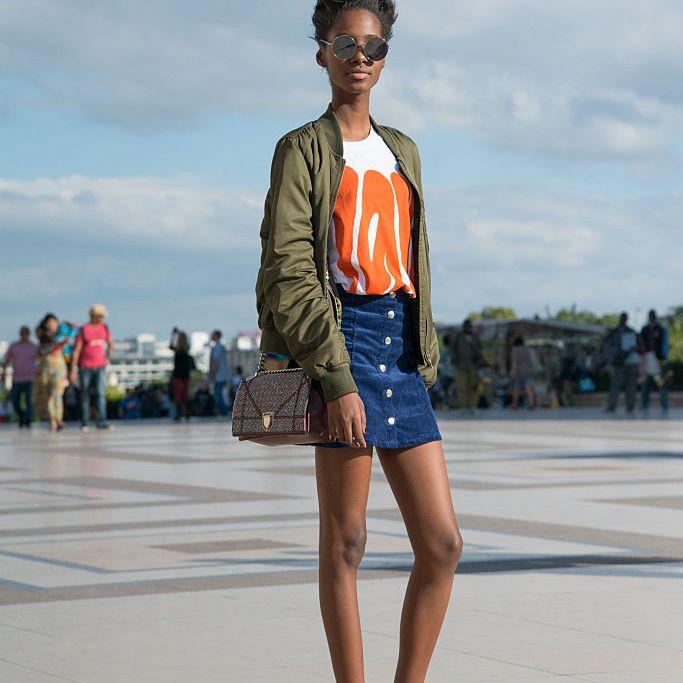 Street style fashion denim skirt