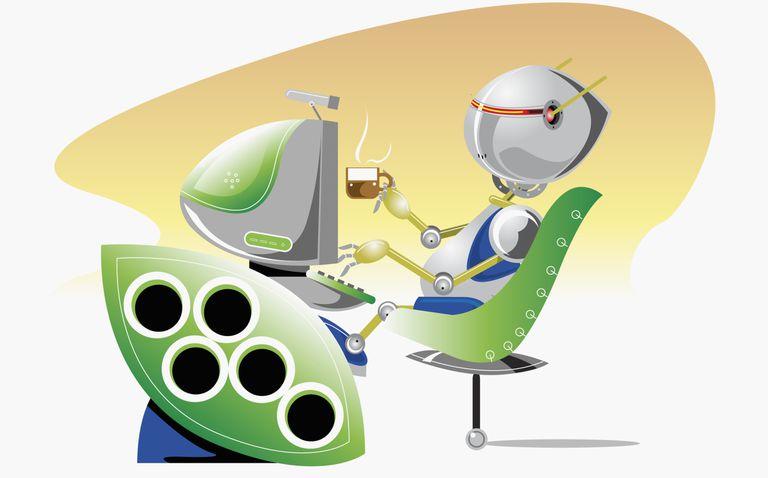 Image of a robot at a computer.