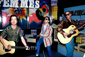 Highly original American rock band Violent Femmes (l to r Gordon Gano, Victor DeLorenzo and Brian Ritchie) perform at Tower Records in Sherman Oaks, California back in 1985.