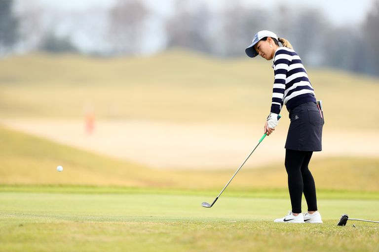 Akane Yasuyama chips onto the 4th green during the third round of the LPGA Final Pro Test at the JFE Setonaikai Golf Club on November 7, 2019 in Kasaoka, Okayama, Japan.