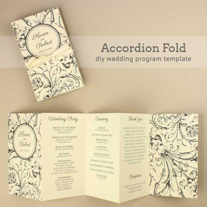 An accordion fold wedding program template