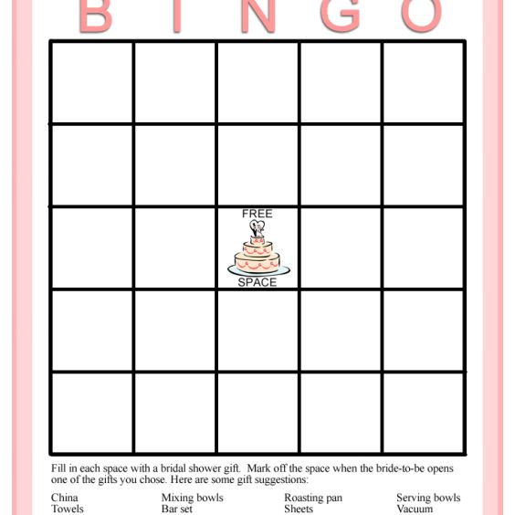 A pink and white bridal shower bingo card