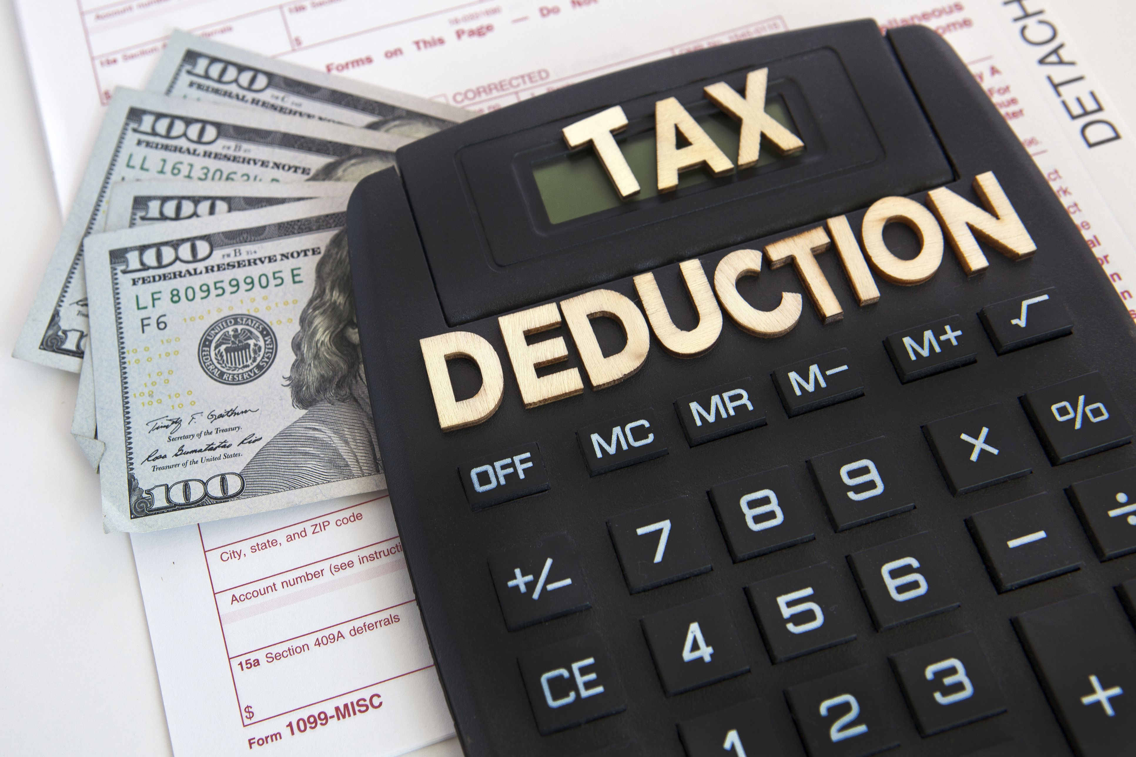 1099 tax form, US currency, calculator