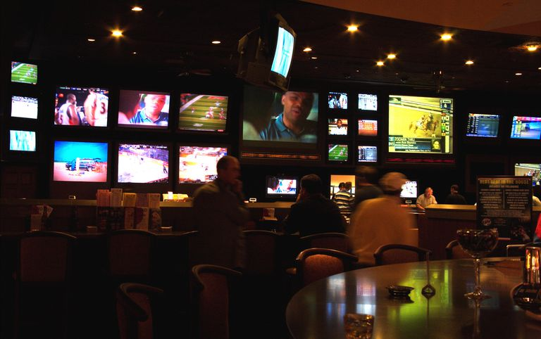 TV screens inside the Sports Bar, Caesars Palace Casino
