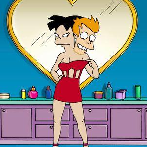 Amy and Fry's Head in Futurama