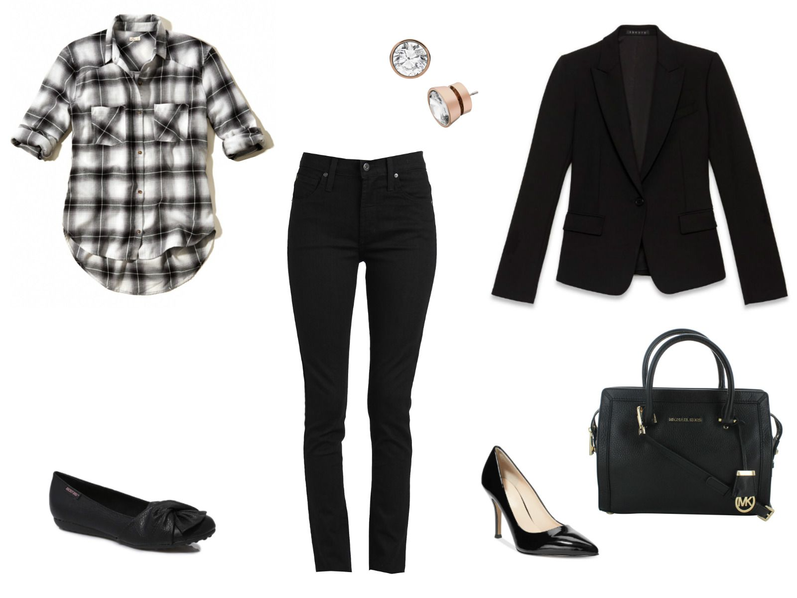 Black and white denim and plaid outfit ideas