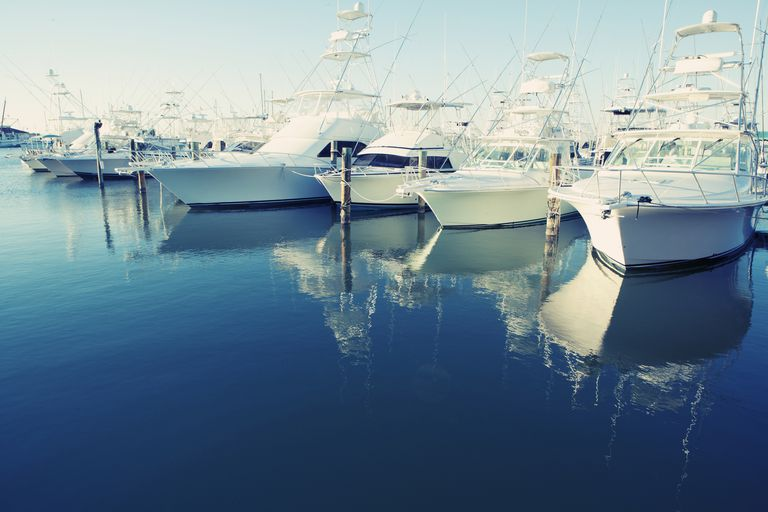Yachts docked at a harbor