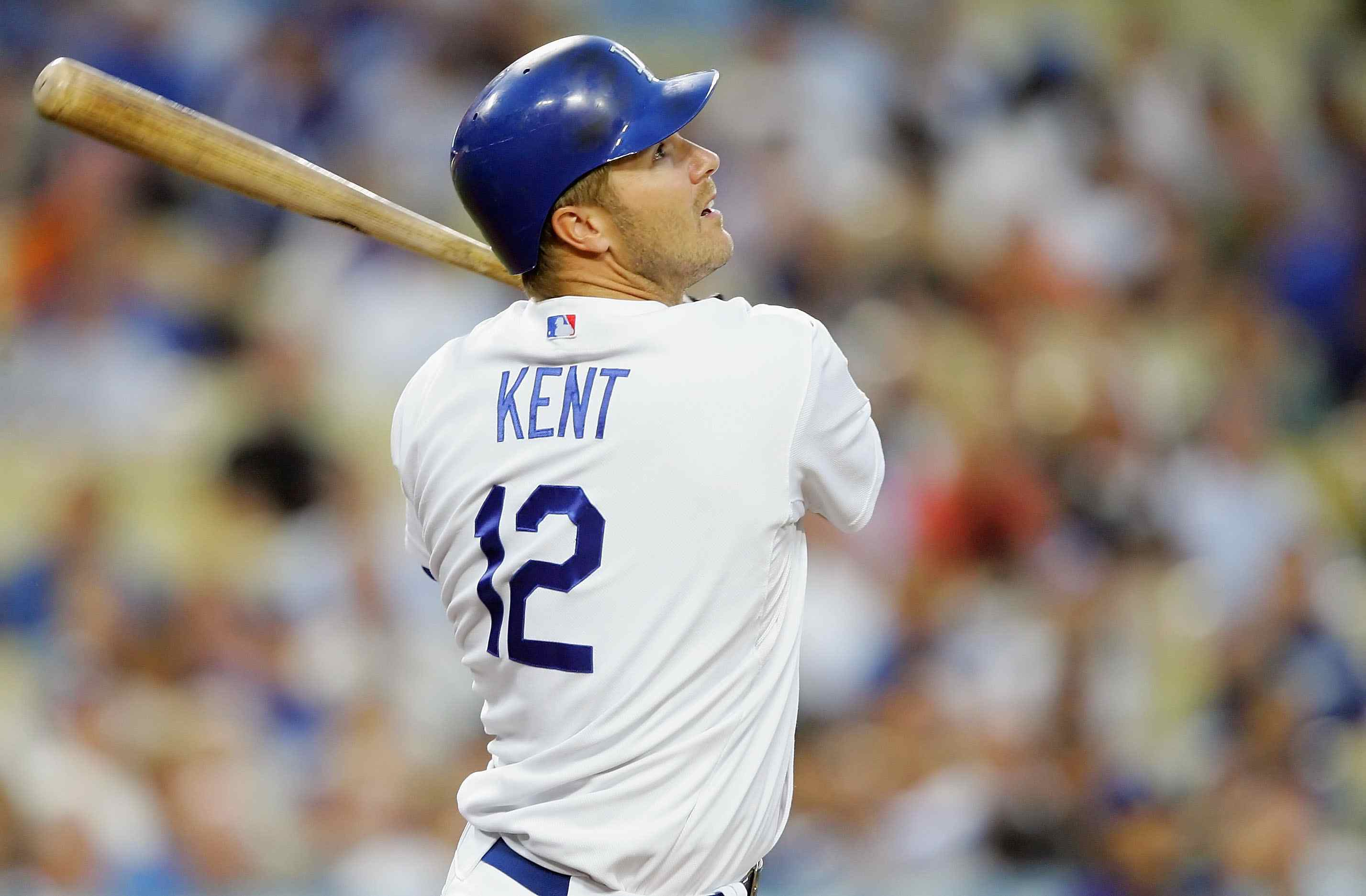 Jeff Kent #12 of the Los Angeles Dodgers at bat during the game against the Colorado Rockies at Dodger Stadium on August 20, 2008 in Los Angeles, California.