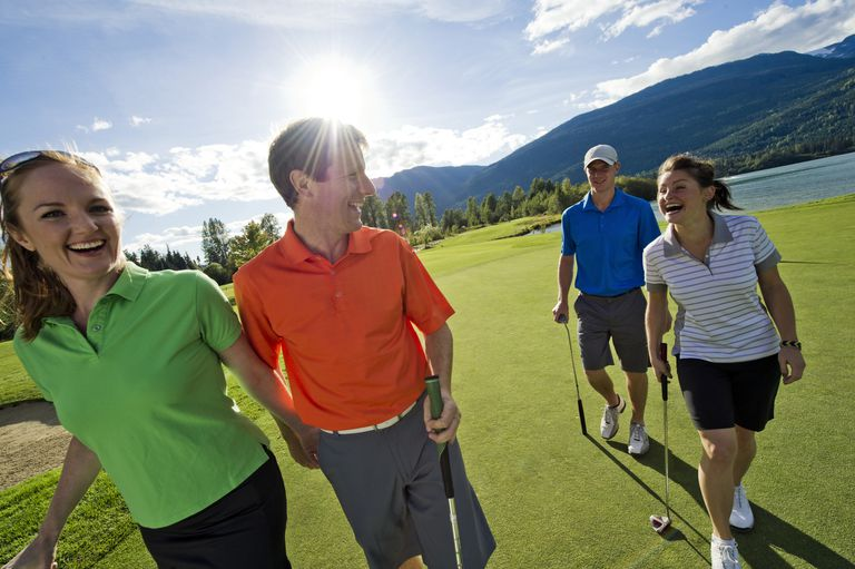 Golfers in collared shirts and golf shorts usually meet strict dress codes