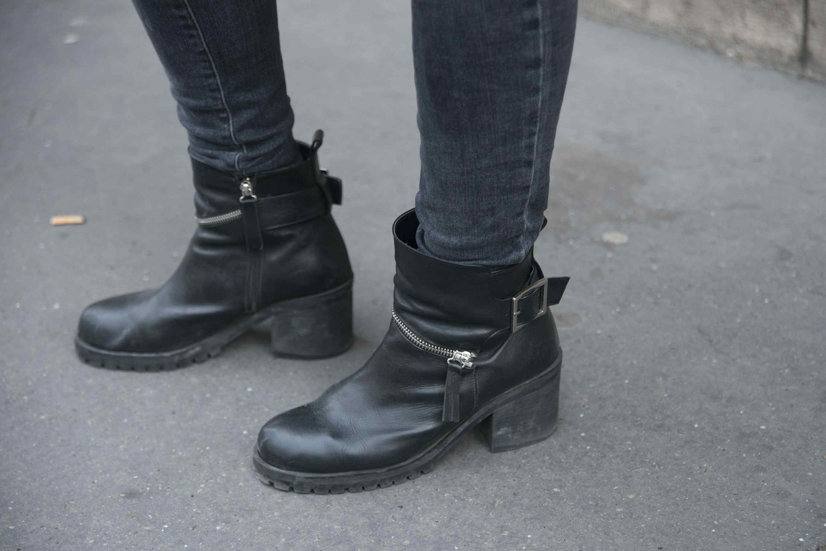 Black jeans and ankle boots