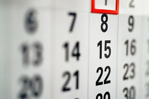 Calendar highlighting the day when daylight savings time starts.