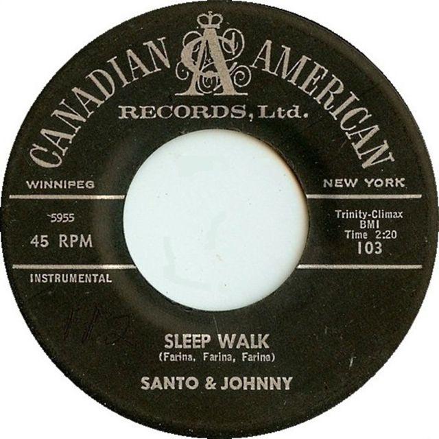 "The original 45 of Santo & Johnny's ""Sleepwalk"""
