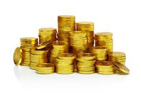 Stacks of gold coins, studio shot