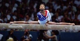 Dominique Dawes of the USA on balance beam during the 1996 Olympic Games in Atlanta, Georgia